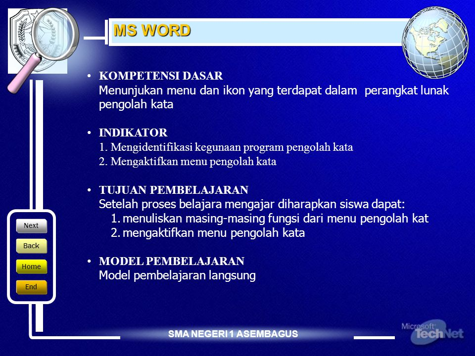 MS WORD KOMPETENSI DASAR