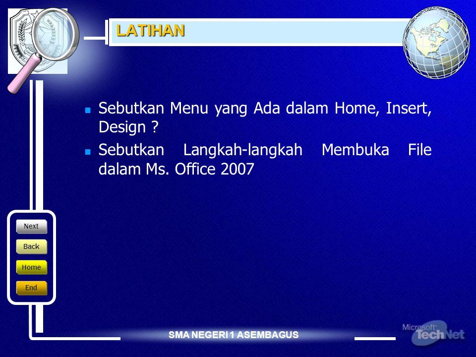 Sebutkan Menu yang Ada dalam Home, Insert, Design