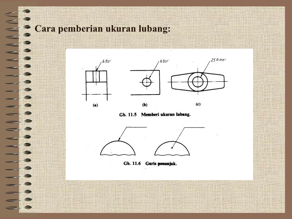 Cara pemberian ukuran lubang: