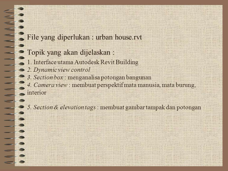 File yang diperlukan : urban house. rvt Topik yang akan dijelaskan : 1