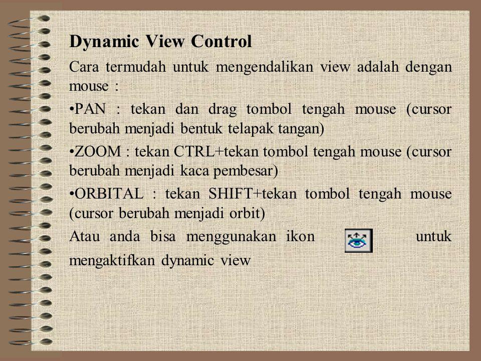 Dynamic View Control Cara termudah untuk mengendalikan view adalah dengan mouse :
