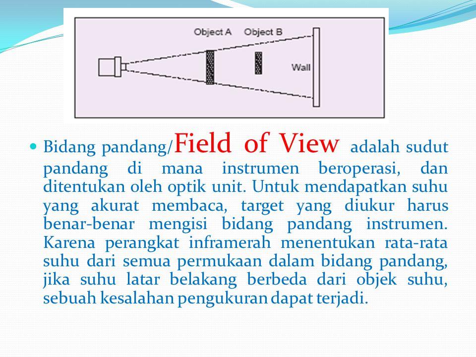 Bidang pandang/Field of View adalah sudut pandang di mana instrumen beroperasi, dan ditentukan oleh optik unit.