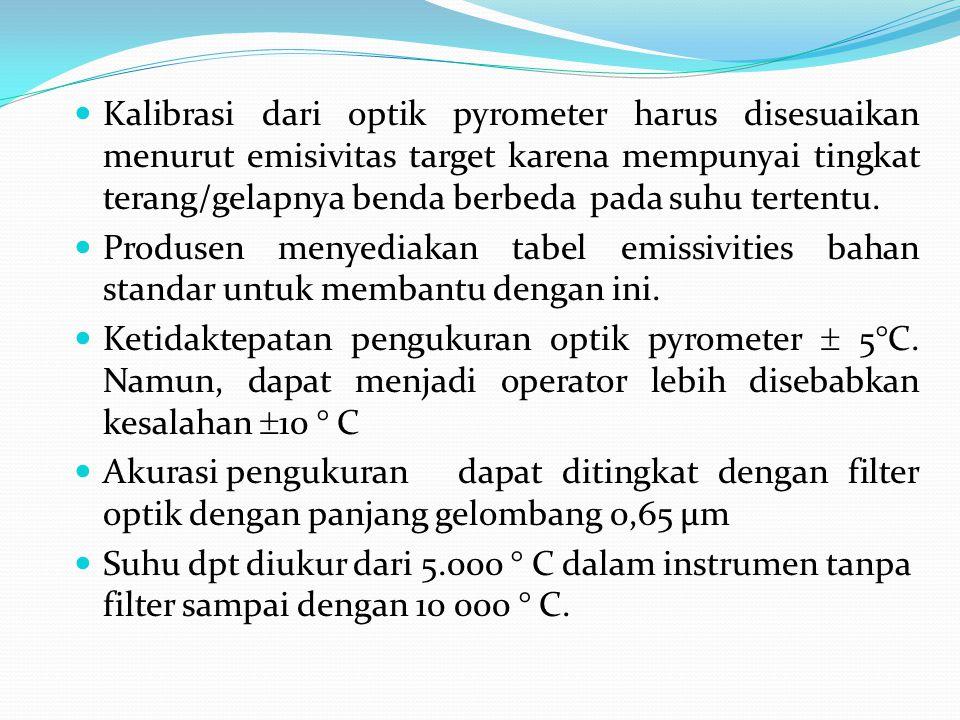 Kalibrasi dari optik pyrometer harus disesuaikan menurut emisivitas target karena mempunyai tingkat terang/gelapnya benda berbeda pada suhu tertentu.