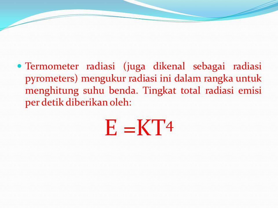 Termometer radiasi (juga dikenal sebagai radiasi pyrometers) mengukur radiasi ini dalam rangka untuk menghitung suhu benda. Tingkat total radiasi emisi per detik diberikan oleh: