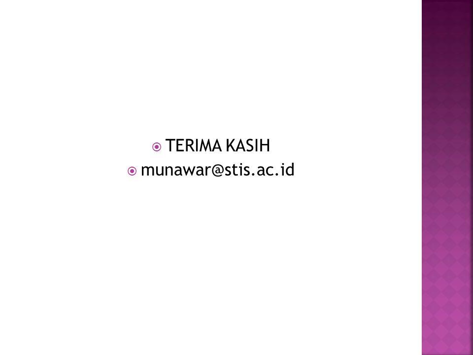 TERIMA KASIH munawar@stis.ac.id