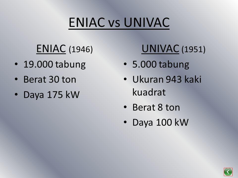 ENIAC vs UNIVAC ENIAC (1946) UNIVAC (1951) 19.000 tabung Berat 30 ton