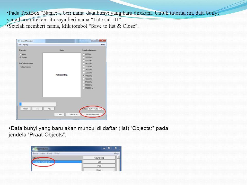 Pada TextBox Name: , beri nama data bunyi yang baru direkam