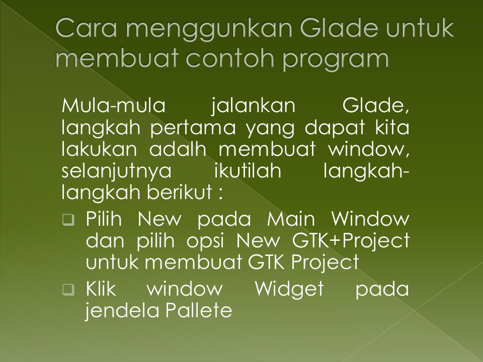Cara menggunkan Glade untuk membuat contoh program