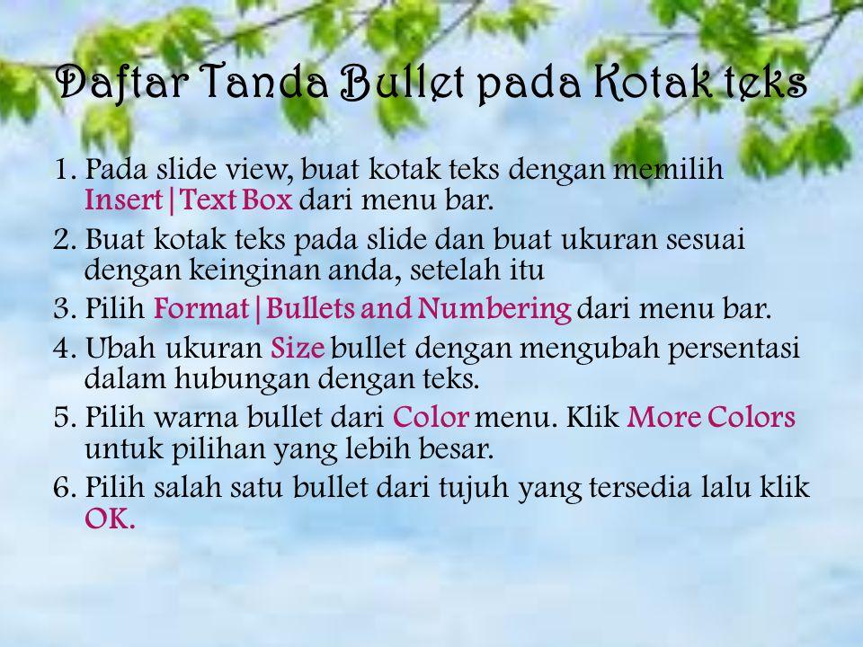 Daftar Tanda Bullet pada Kotak teks