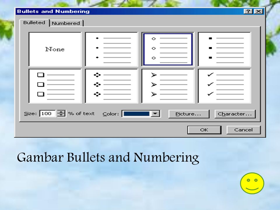 Gambar Bullets and Numbering