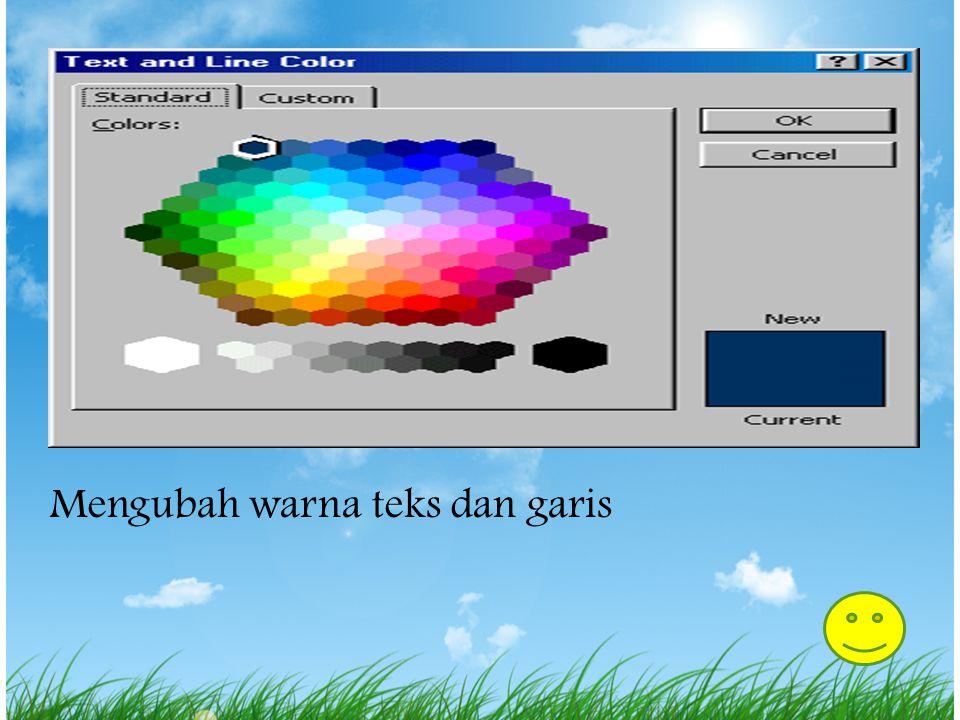 Mengubah warna teks dan garis