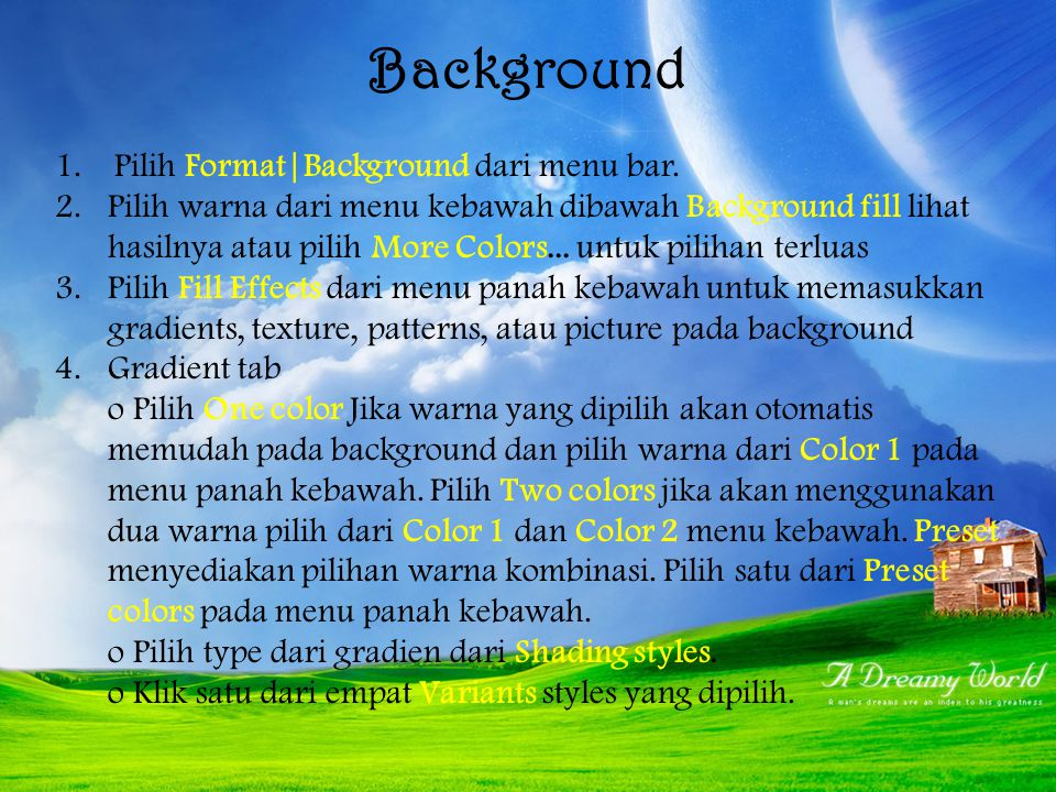 Background Pilih Format|Background dari menu bar.