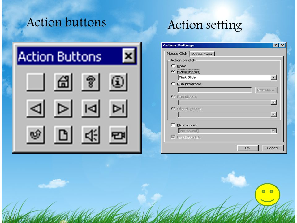 Action buttons Action setting