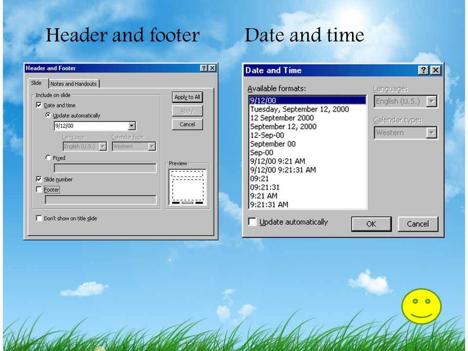 Header and footer Date and time