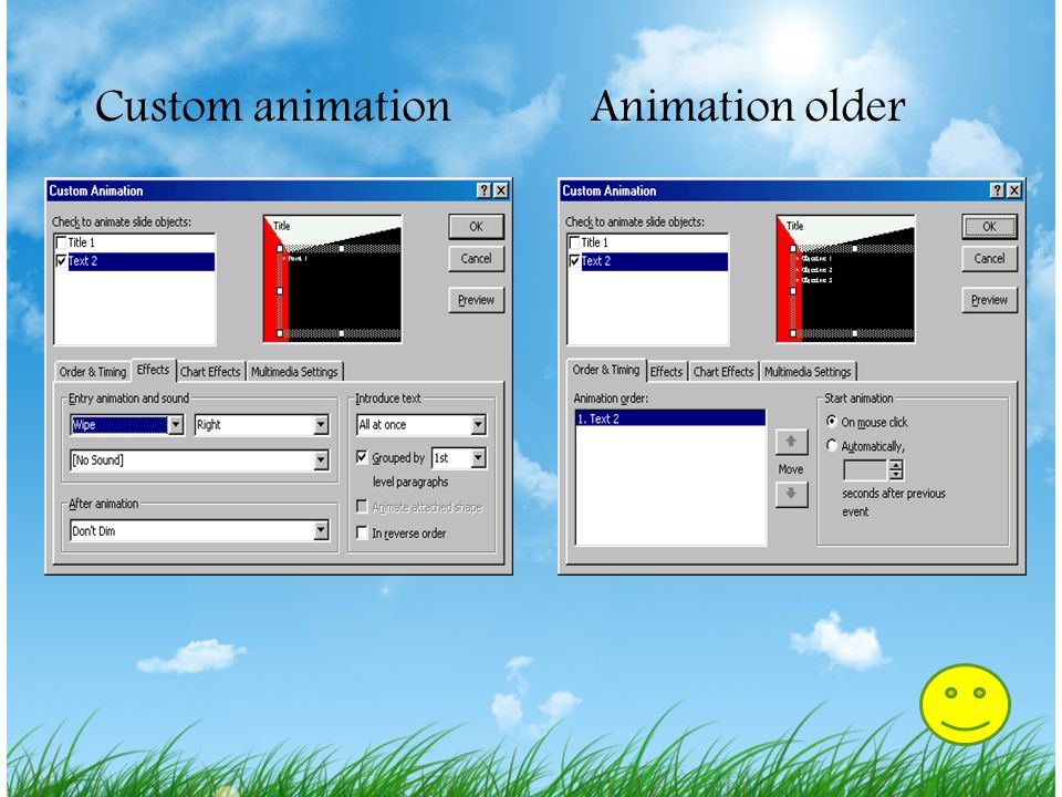 Custom animation Animation older