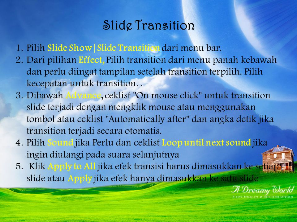 Slide Transition Pilih Slide Show|Slide Transition dari menu bar.