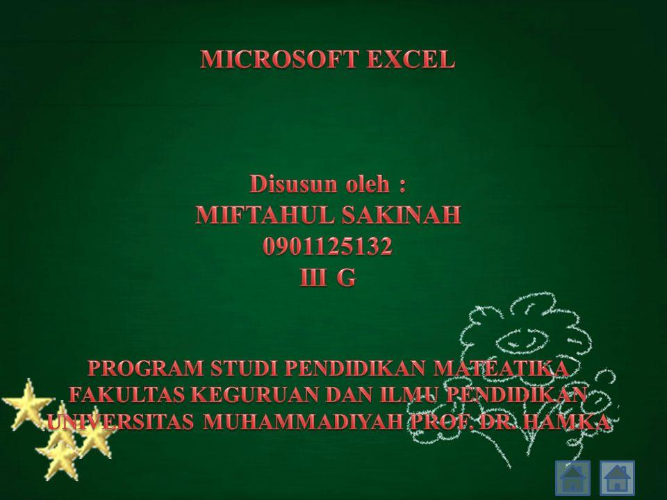 MICROSOFT EXCEL Disusun oleh : MIFTAHUL SAKINAH 0901125132 III G