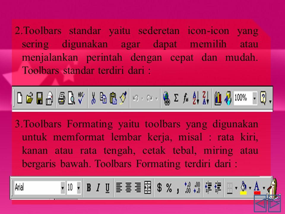 2.Toolbars standar yaitu sederetan icon-icon yang sering digunakan agar dapat memilih atau menjalankan perintah dengan cepat dan mudah. Toolbars standar terdiri dari :