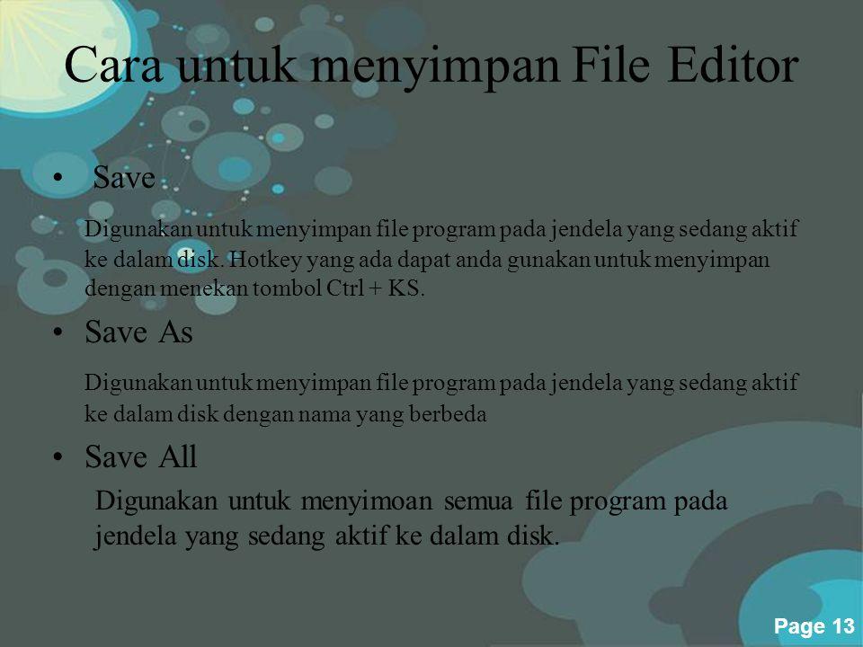 Cara untuk menyimpan File Editor