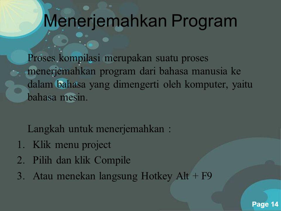 Menerjemahkan Program