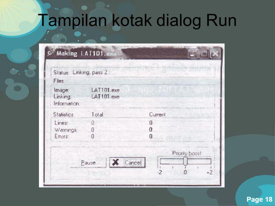 Tampilan kotak dialog Run