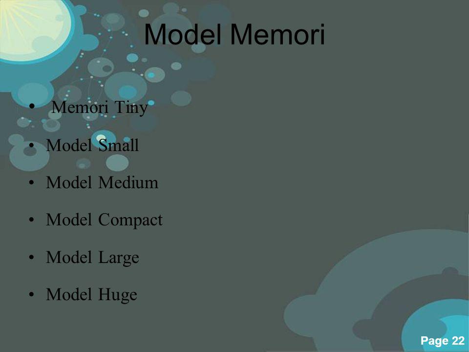Model Memori Memori Tiny Model Small Model Medium Model Compact