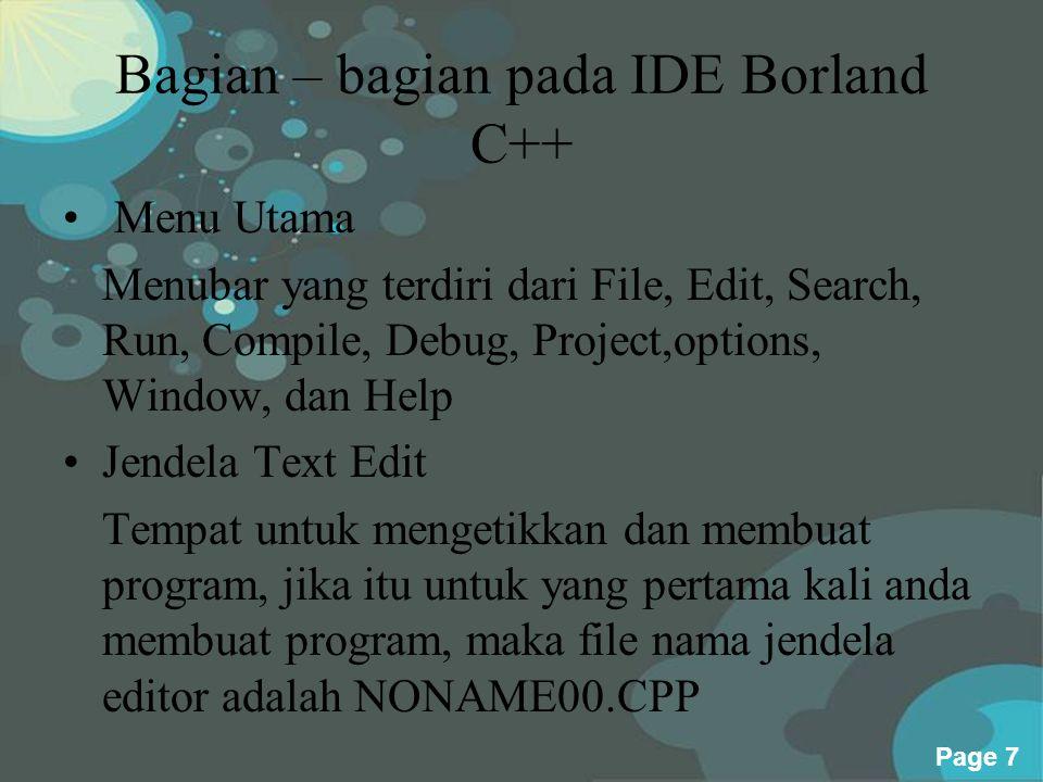 Bagian – bagian pada IDE Borland C++