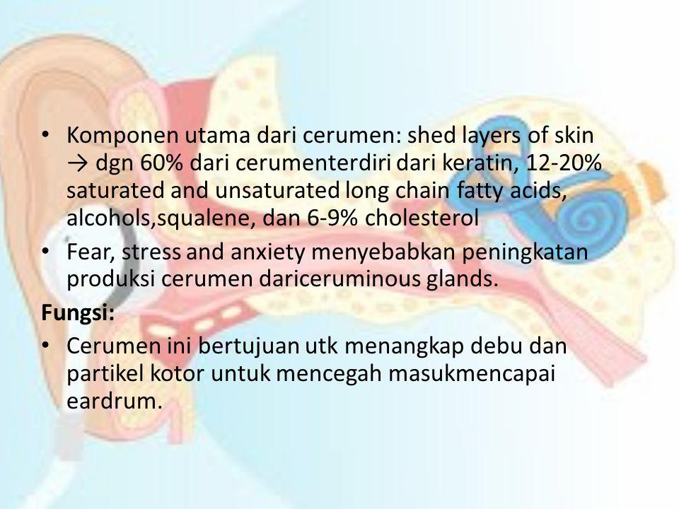 Komponen utama dari cerumen: shed layers of skin → dgn 60% dari cerumenterdiri dari keratin, 12-20% saturated and unsaturated long chain fatty acids, alcohols,squalene, dan 6-9% cholesterol