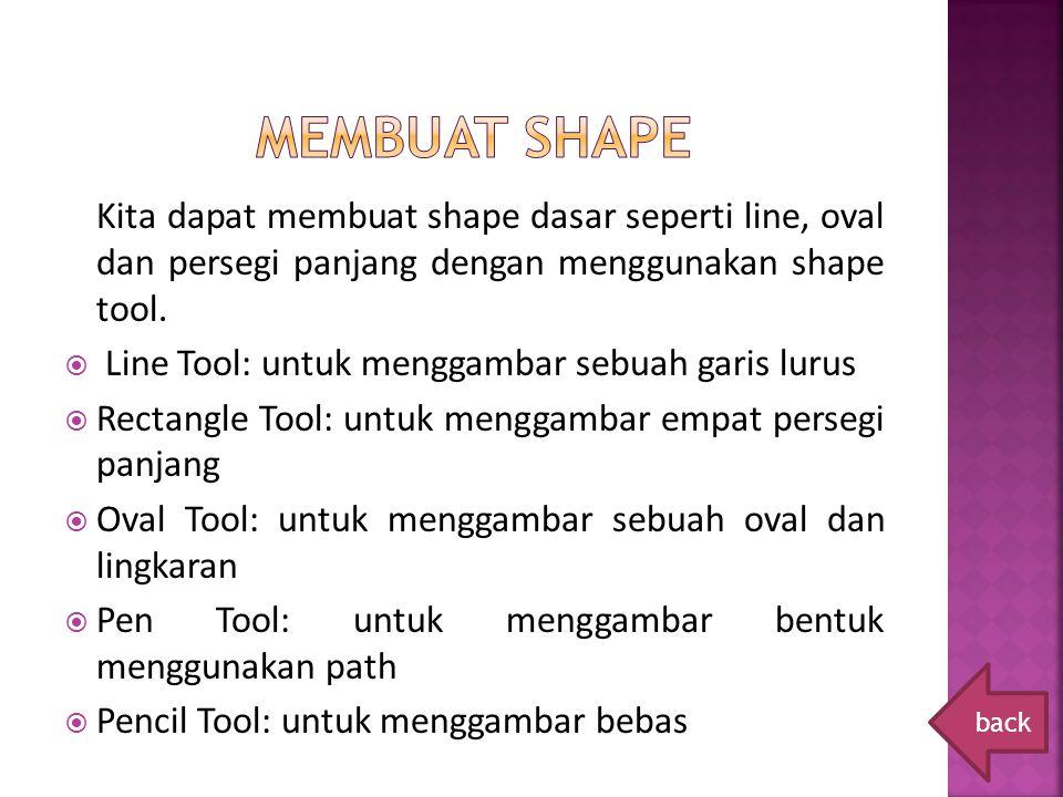 Membuat shape Kita dapat membuat shape dasar seperti line, oval dan persegi panjang dengan menggunakan shape tool.