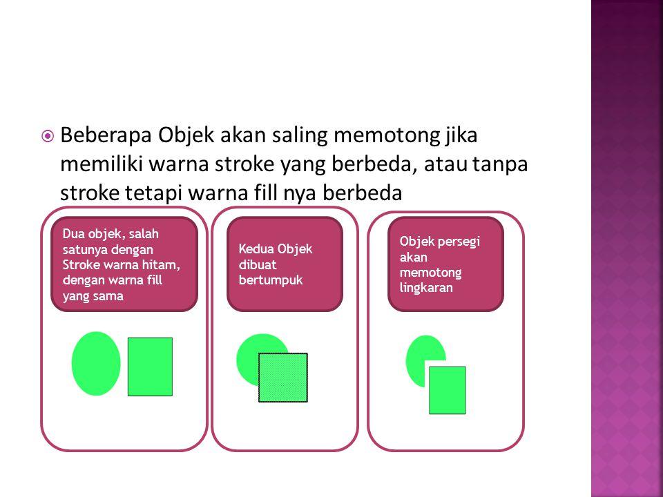 Beberapa Objek akan saling memotong jika memiliki warna stroke yang berbeda, atau tanpa stroke tetapi warna fill nya berbeda