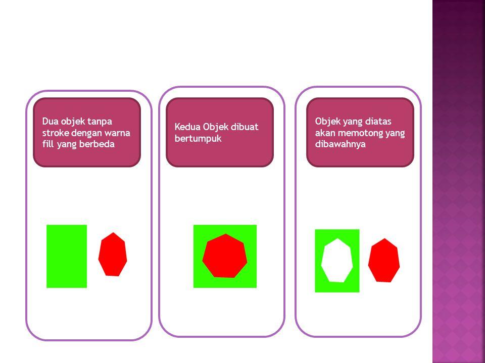 Dua objek tanpa stroke dengan warna fill yang berbeda
