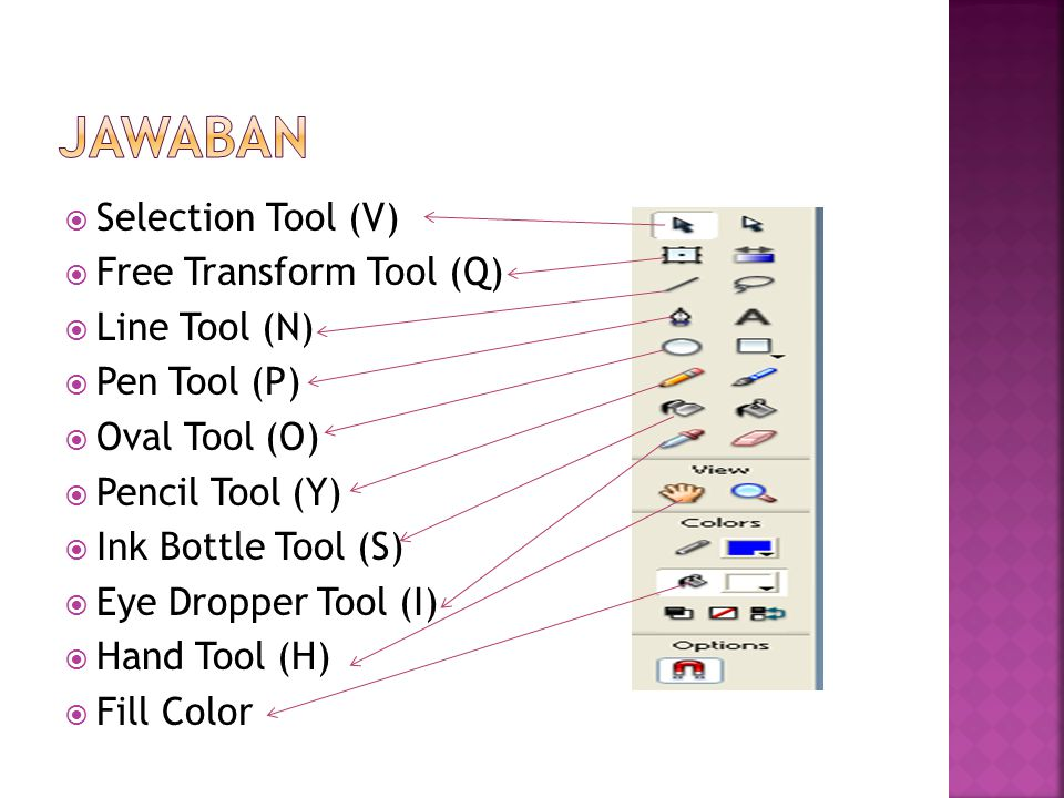 JAWABAN Selection Tool (V) Free Transform Tool (Q) Line Tool (N)