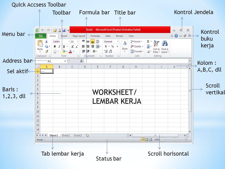 WORKSHEET/ LEMBAR KERJA Quick Accsess Toolbar Toolbar Formula bar