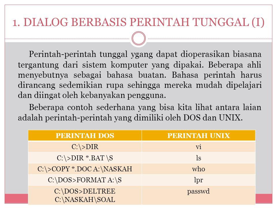 1. DIALOG BERBASIS PERINTAH TUNGGAL (I)