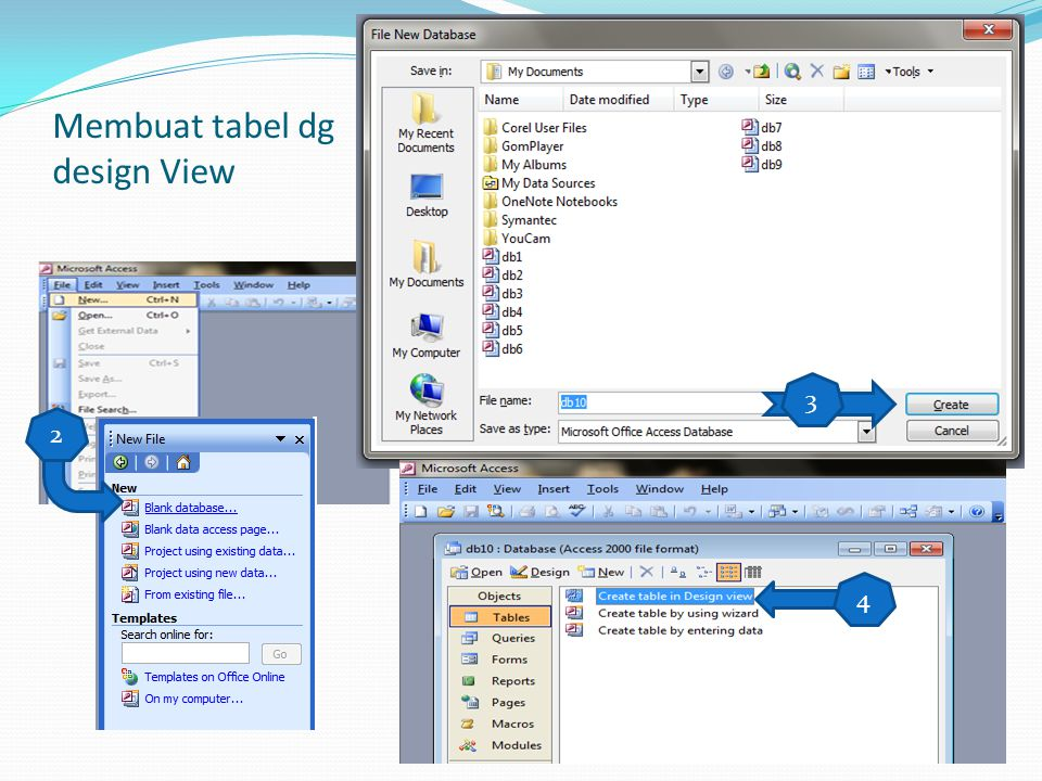 Membuat tabel dg design View