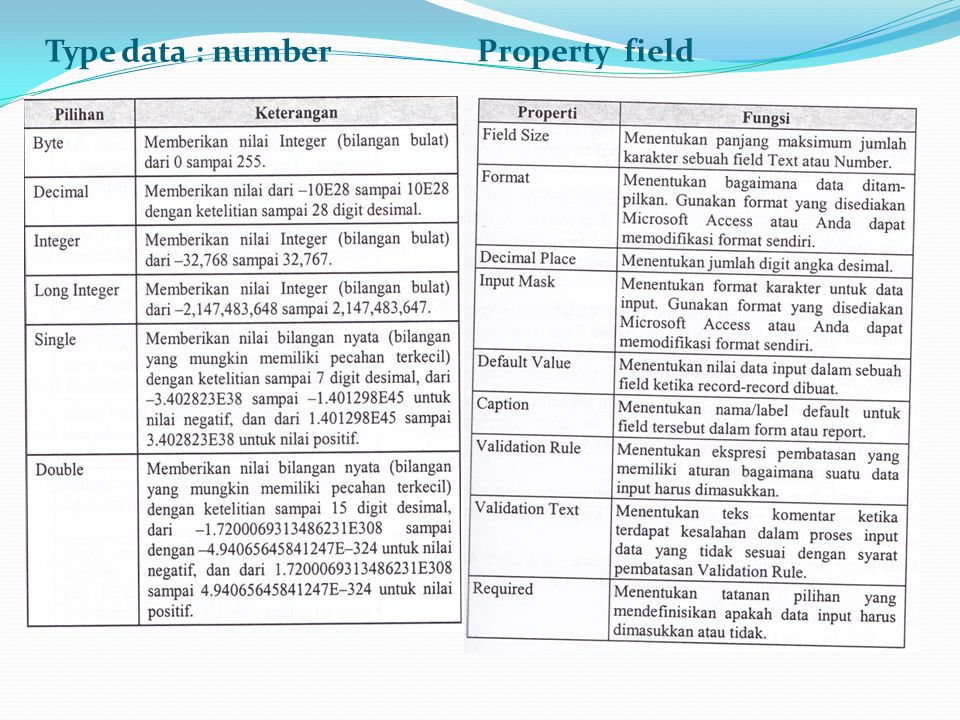 Type data : number Property field