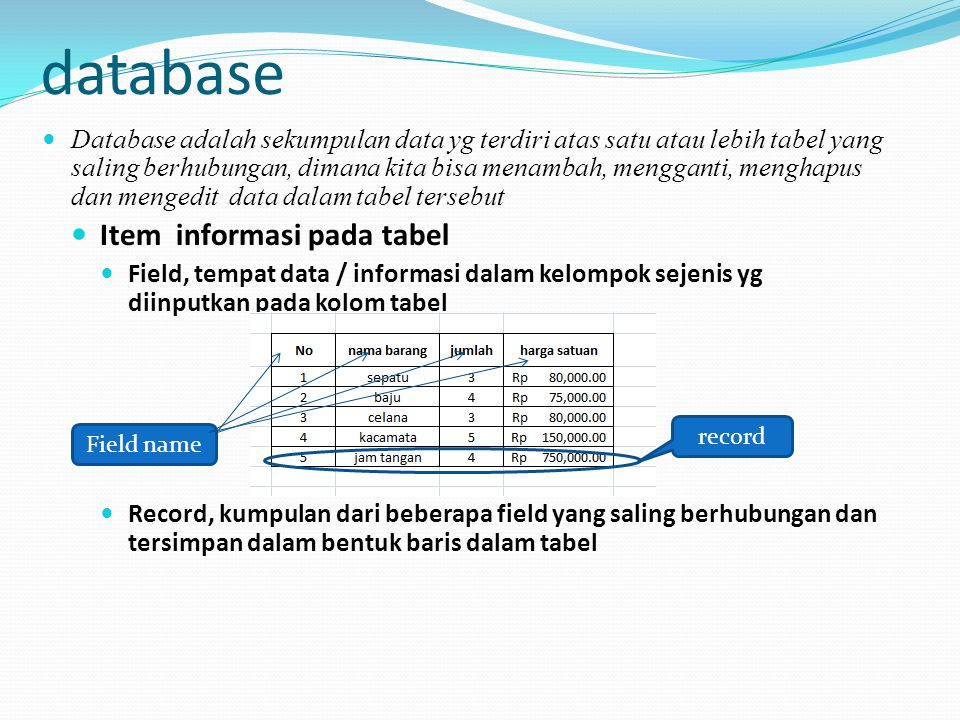 database Item informasi pada tabel