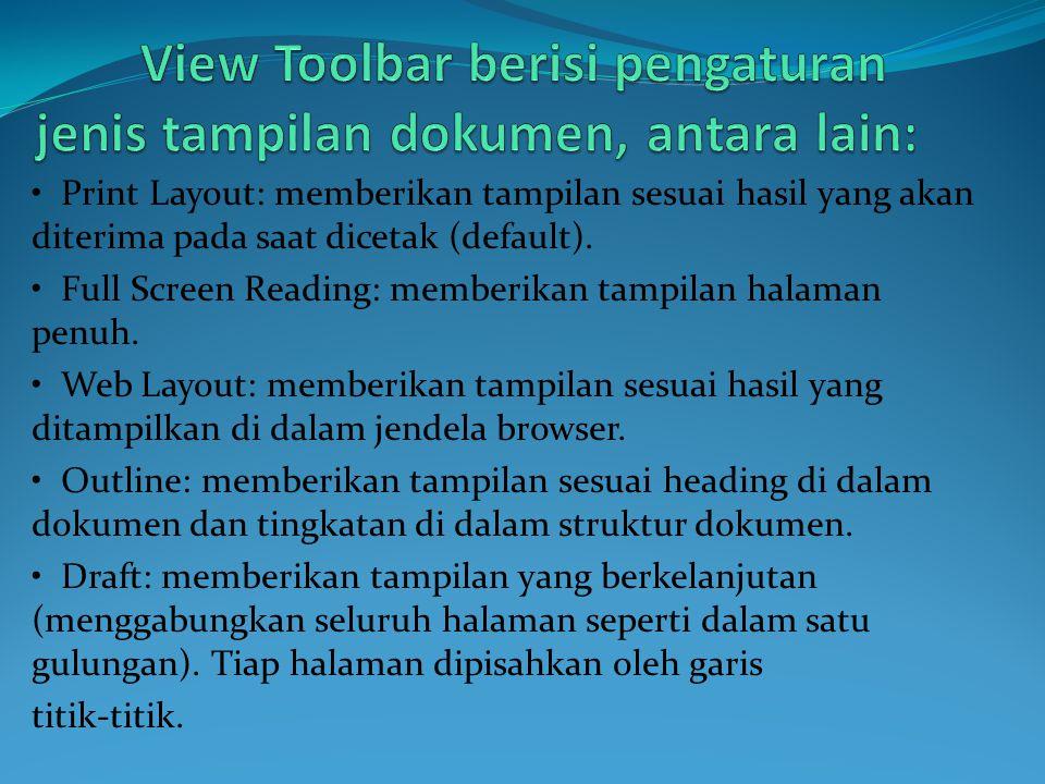View Toolbar berisi pengaturan jenis tampilan dokumen, antara lain: