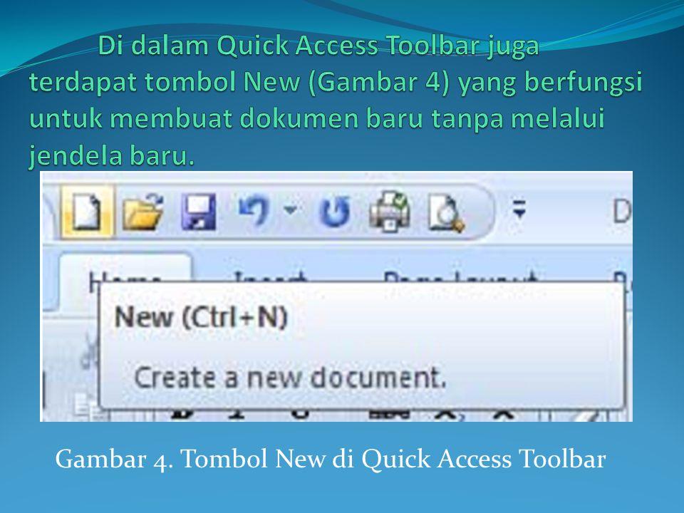 Di dalam Quick Access Toolbar juga terdapat tombol New (Gambar 4) yang berfungsi untuk membuat dokumen baru tanpa melalui jendela baru.