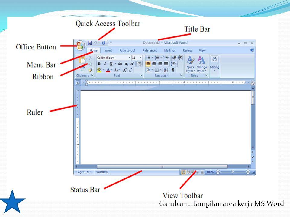 Gambar 1. Tampilan area kerja MS Word