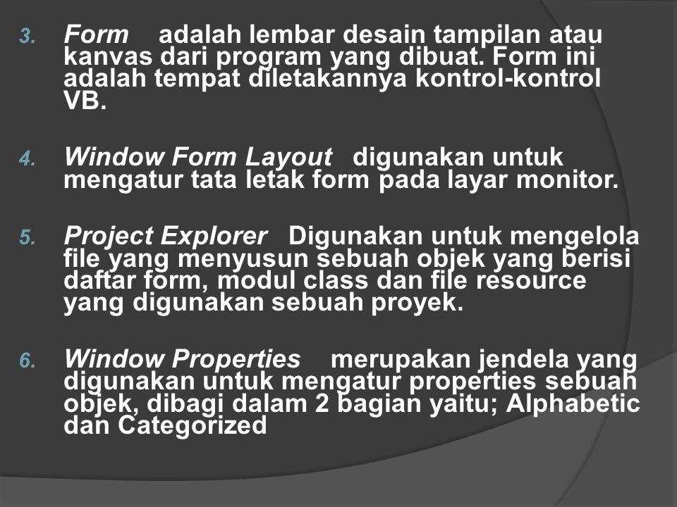 Form adalah lembar desain tampilan atau kanvas dari program yang dibuat. Form ini adalah tempat diletakannya kontrol-kontrol VB.