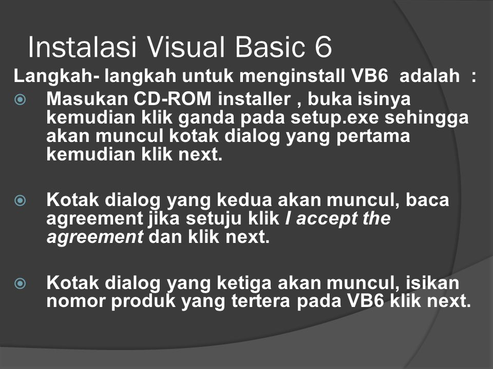 Instalasi Visual Basic 6
