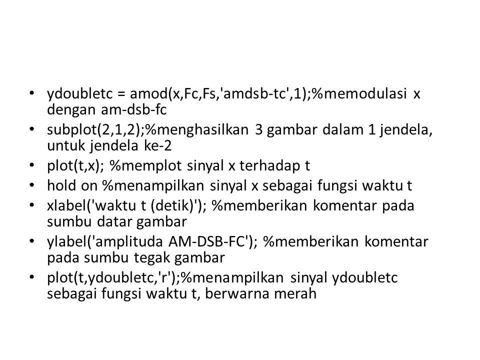 ydoubletc = amod(x,Fc,Fs, amdsb-tc ,1);%memodulasi x dengan am-dsb-fc
