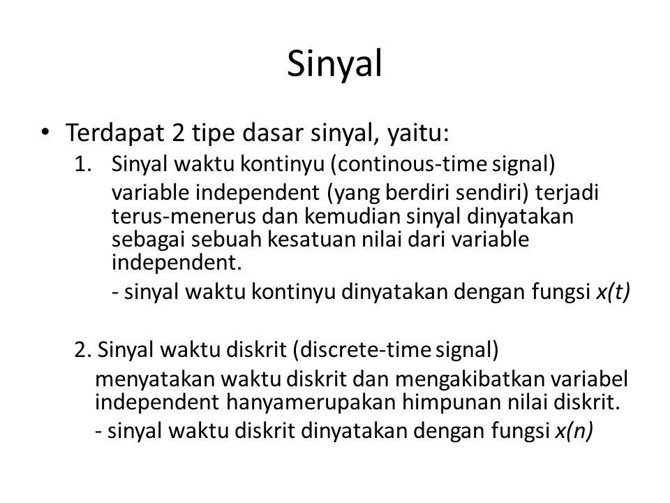 Sinyal Terdapat 2 tipe dasar sinyal, yaitu: