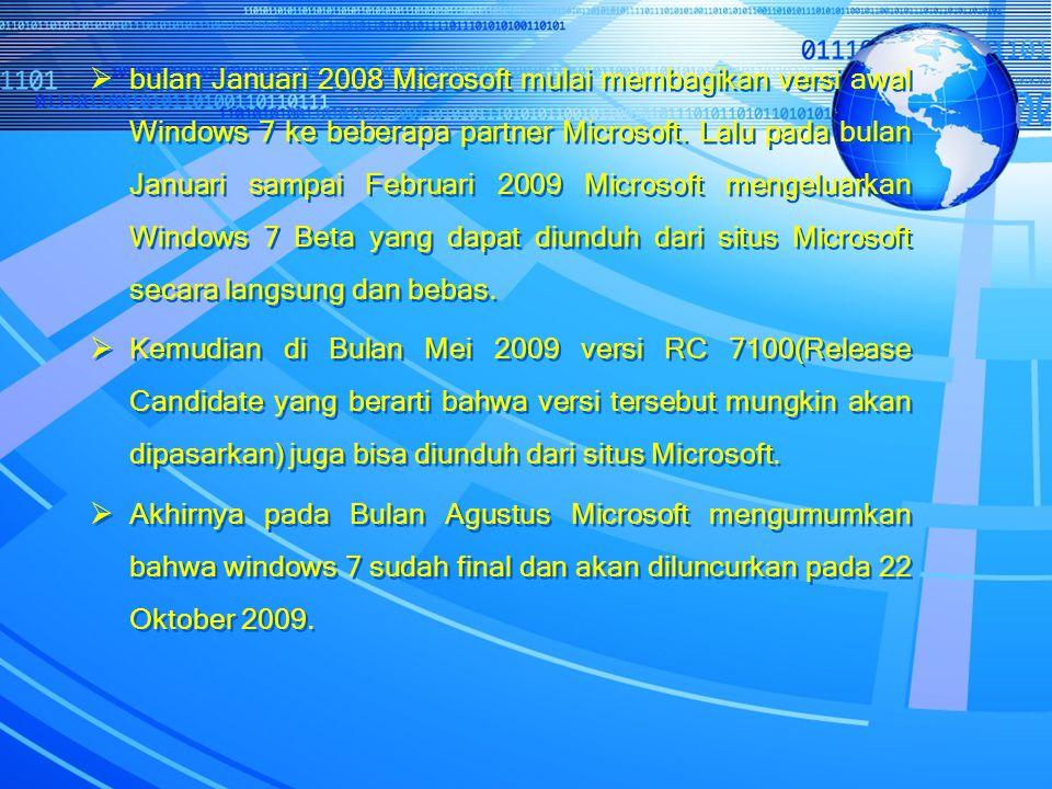 bulan Januari 2008 Microsoft mulai membagikan versi awal Windows 7 ke beberapa partner Microsoft. Lalu pada bulan Januari sampai Februari 2009 Microsoft mengeluarkan Windows 7 Beta yang dapat diunduh dari situs Microsoft secara langsung dan bebas.