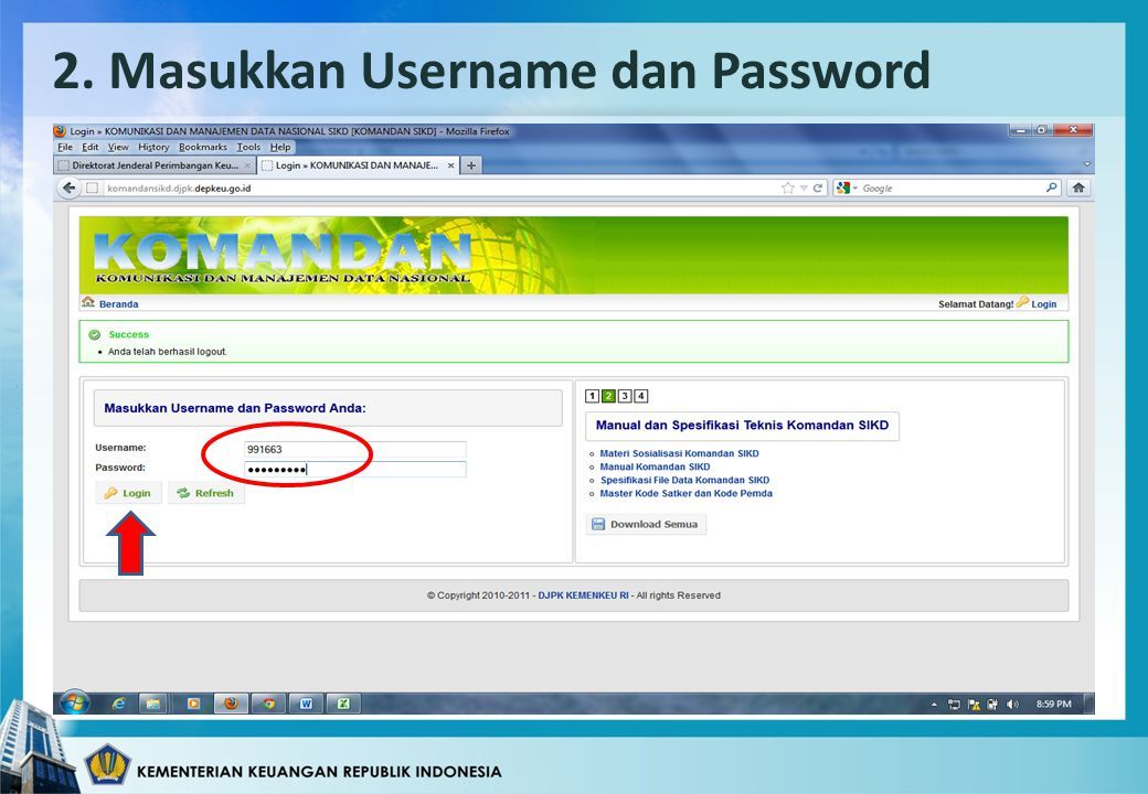 2. Masukkan Username dan Password