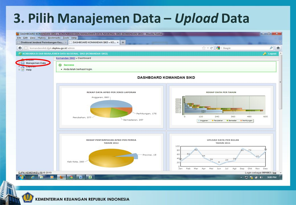 3. Pilih Manajemen Data – Upload Data