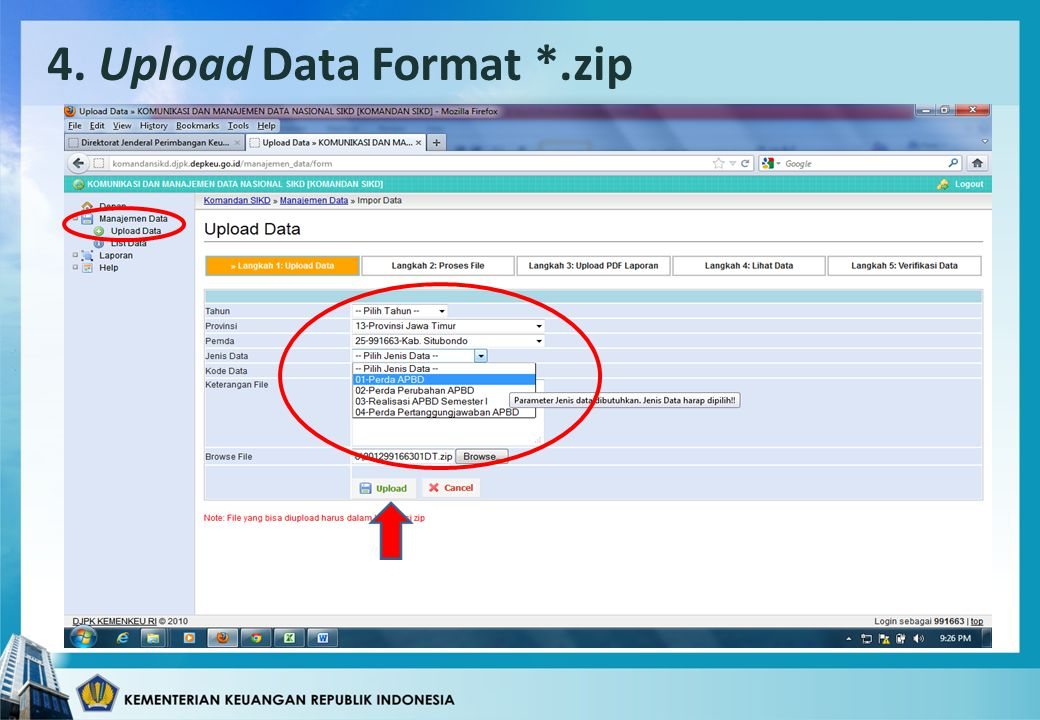 4. Upload Data Format *.zip