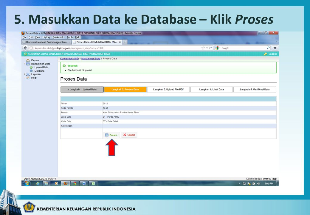 5. Masukkan Data ke Database – Klik Proses