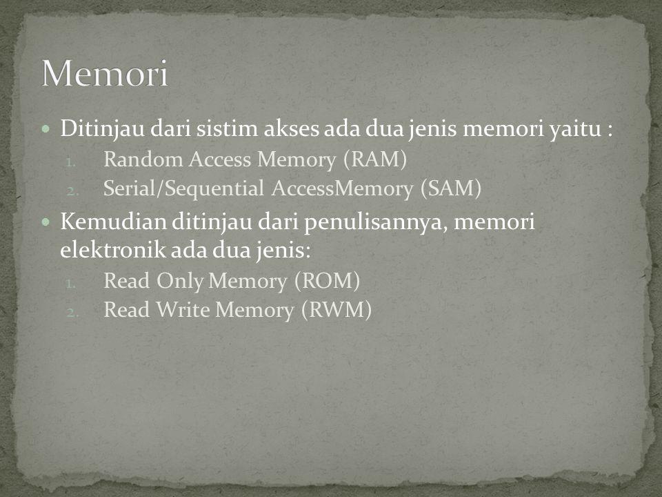 Memori Ditinjau dari sistim akses ada dua jenis memori yaitu :